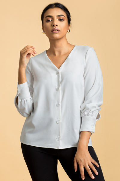 Button Front Work Wear Top