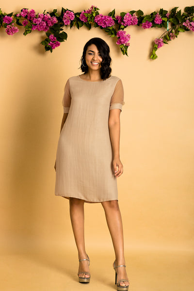 Mesh Sleeves Tunic Dress