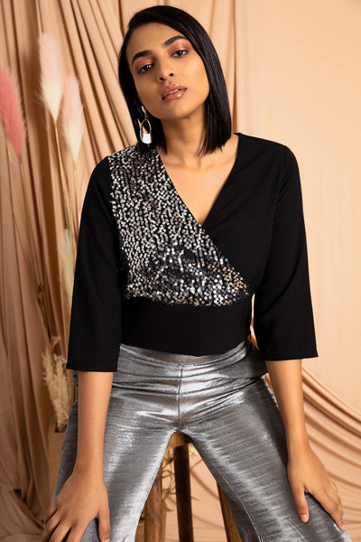 Wrap Sequin Top