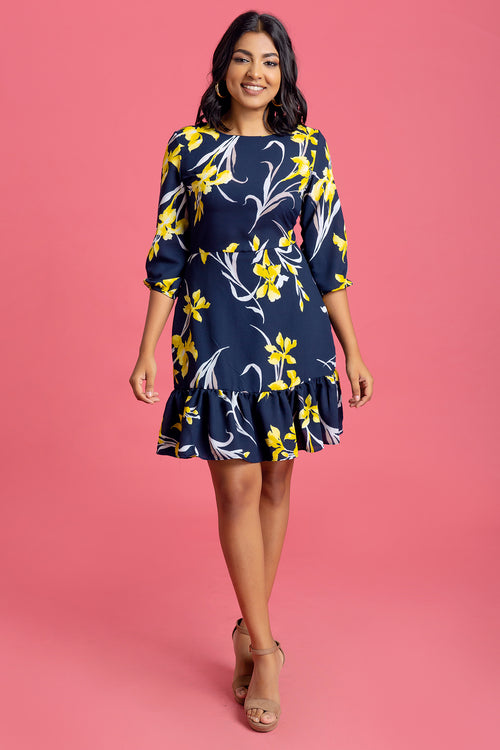 Printed Balloon Sleeve Dress