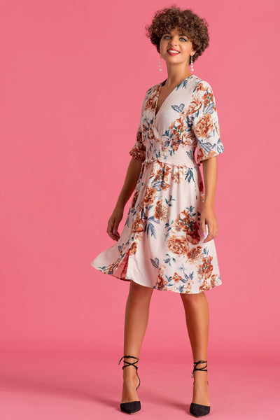 Waist Gathered Printed Dress