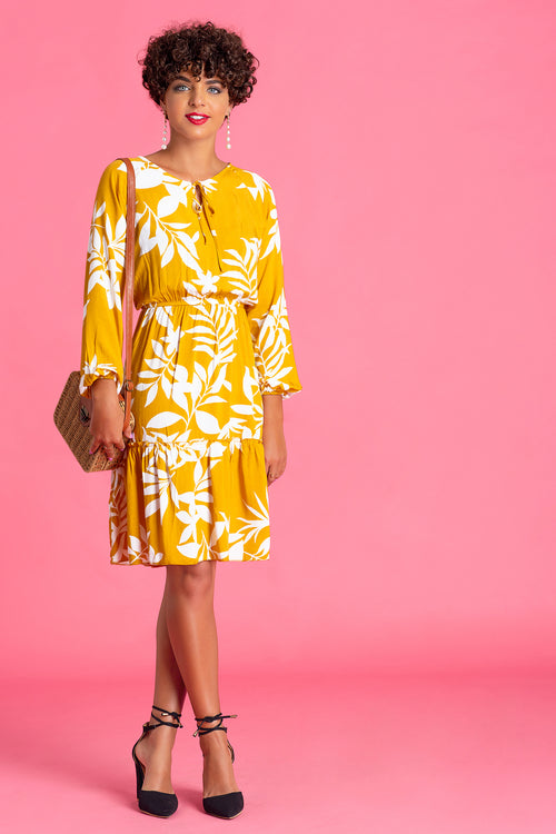 Raglan Sleeve Printed Dress