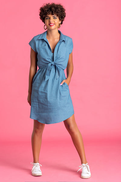 Tie Up Chambray Dress