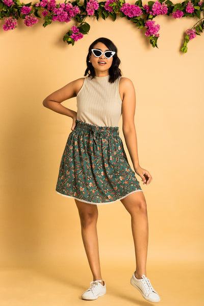 Lace Belted Skirt