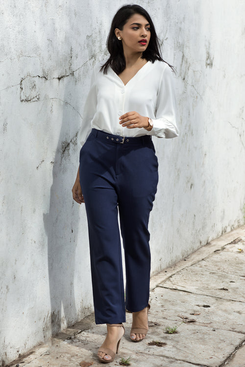Buckle Belted Crop Pant