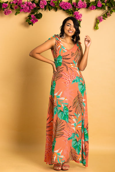 Tie Shoulder Sleeveless Maxi Dress