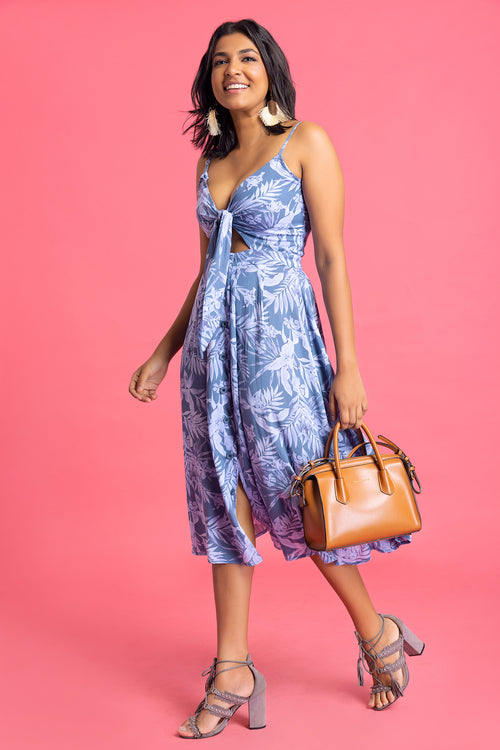 Front Knotted Printed Dress