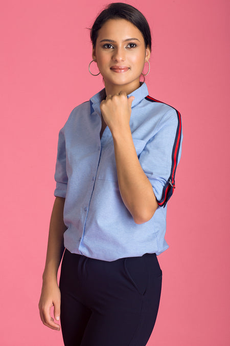 Placket Detailed Work Wear Top