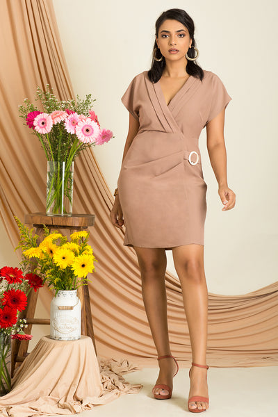 Wrap Mini Dress With Buckle