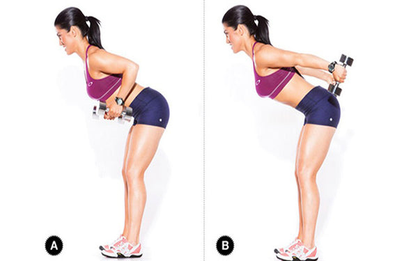 standing bent over two arm dumbbell