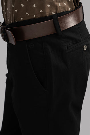 Plain Twill Trousers (Black)