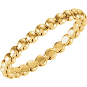 14K Gold Beaded Stackable Ring