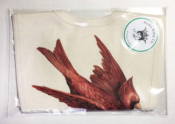 Red Cardinal Bird Organic Bib