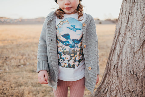 Bluebird and Flowers Girl's Shirt
