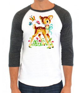 Deer and Butterfly Friends Baseball Raglan
