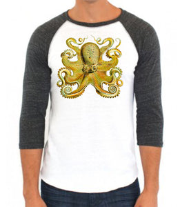 Yellow Octopus Baseball Raglan