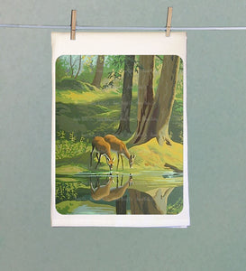 Lake Deer Retro Tea Towel