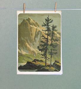 Mountain and Pine Trees Retro Tea Towel