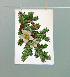 Fir Branch and Horseshoe Tea Towel