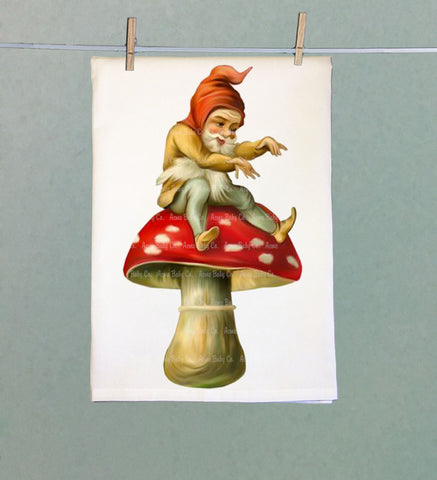 Amanita Gnome Flour Sack Tea Towel