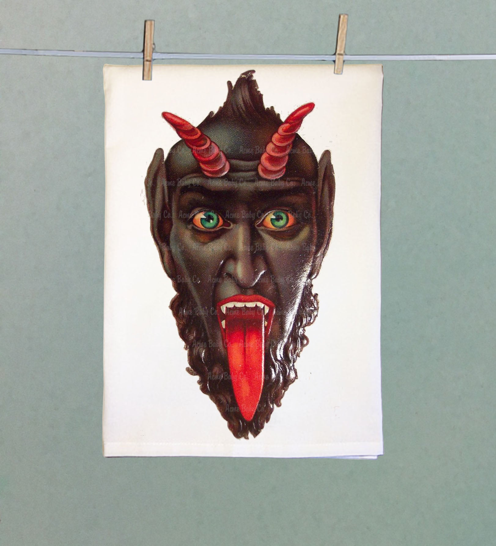Krampus Devil Flour Sack Tea Towel