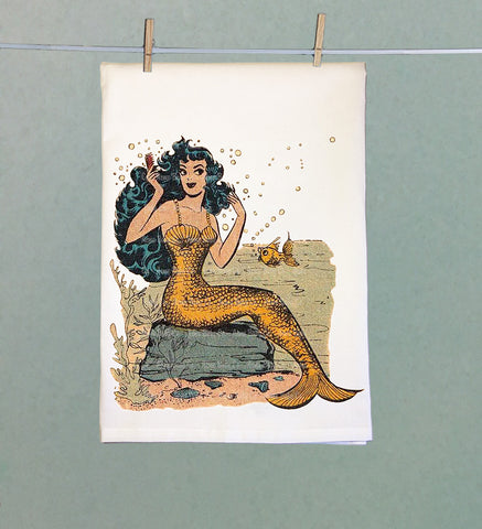 Mermaid Retro Tea Towel