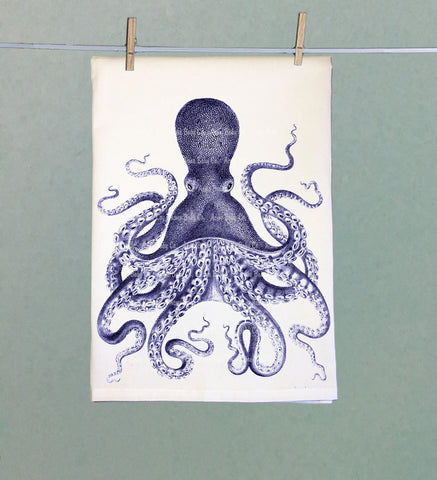 Blue Octopus Retro Tea Towel