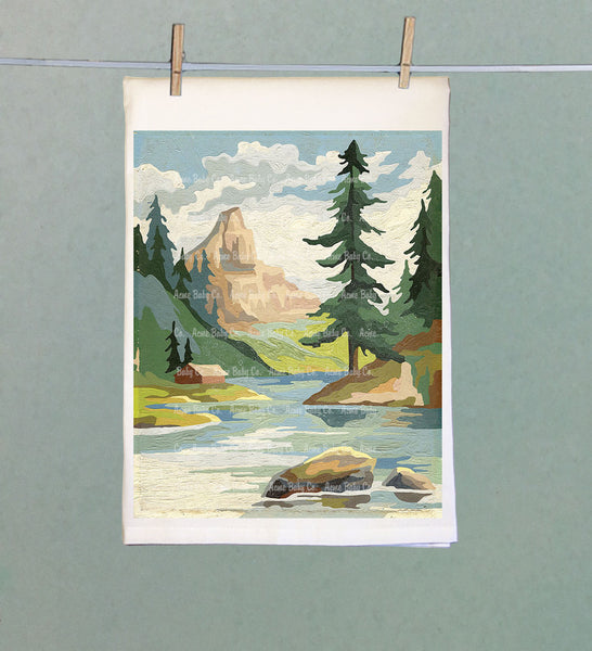 Mountain Stream Retro Tea Towel