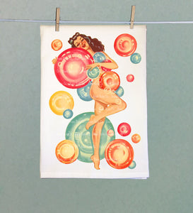 Pinup with Bubbles Retro Tea Towel