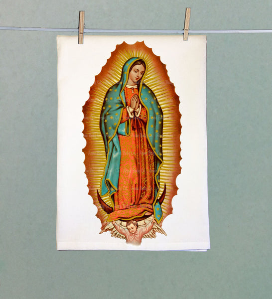 Virgin de Guadalupe Retro Tea Towel
