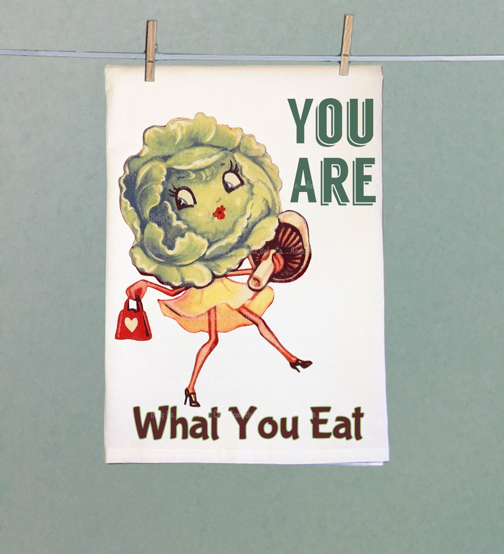 You Are What You Eat Retro Tea Towel