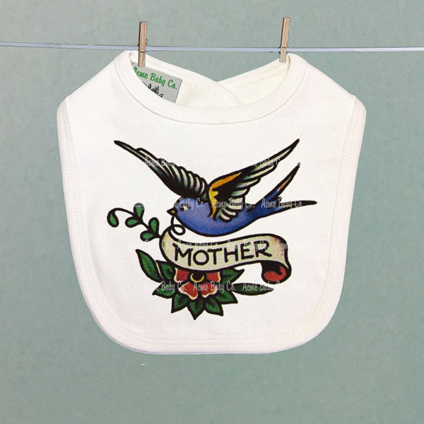 Mother Blue Bird Tattoo Organic Baby Bib