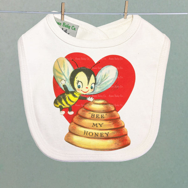 Organic Baby Bib with Honey Bee Valentine