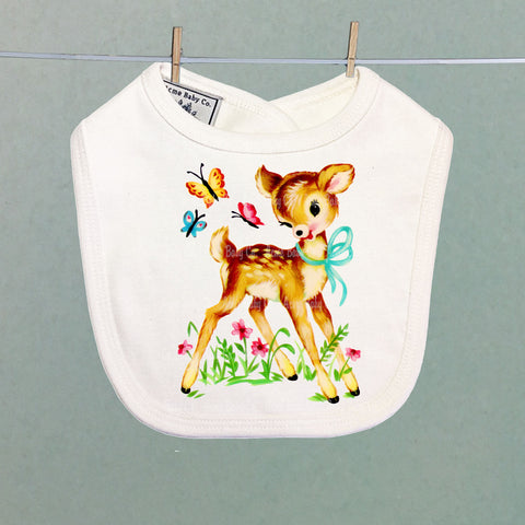 Deer and Butterflies Organic Baby Bib