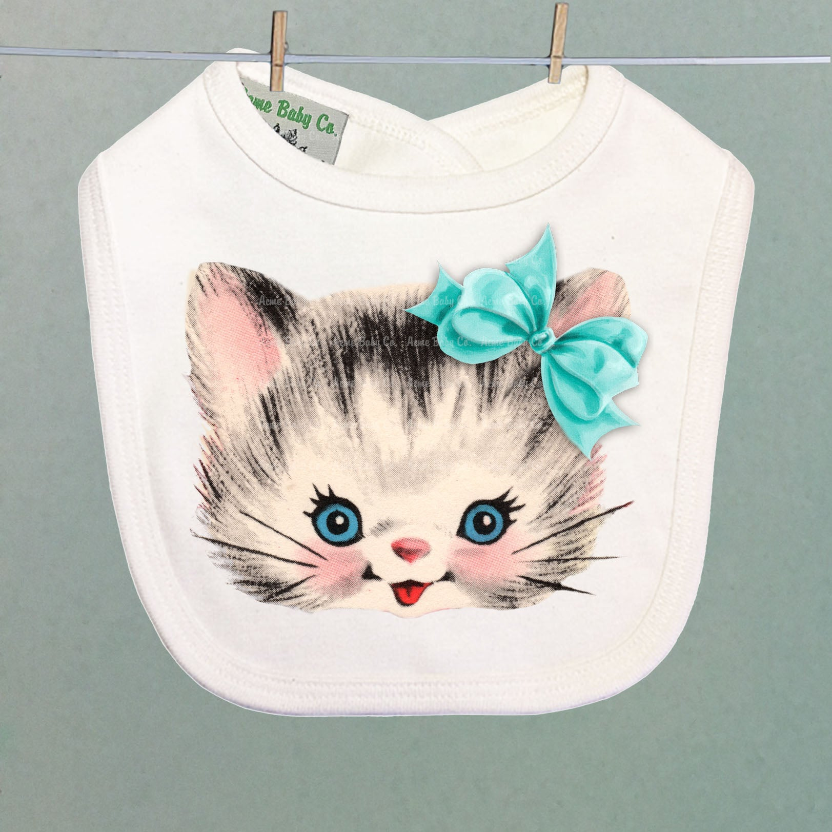 Kitten with Bow Organic Baby Bib