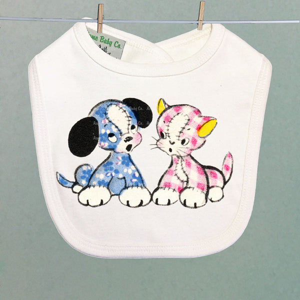 Calico and Gingham Puppy and Kitten Organic Baby Bib