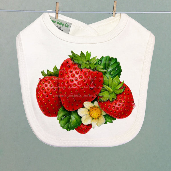 Fresh Strawberry Retro Organic Baby Bib
