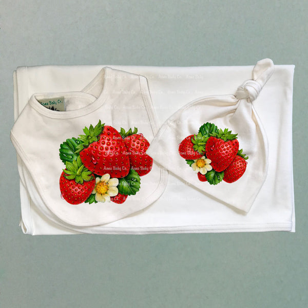 Strawberry Organic Baby Swaddle Receiving Blanket Three Piece Set CLEARANCE
