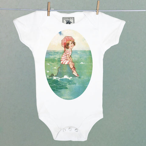 One Piece Baby Bodysuit with Sun Bathing Beach Cutie