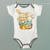 Funny Bunny Baby One Piece Bodysuit with Trim