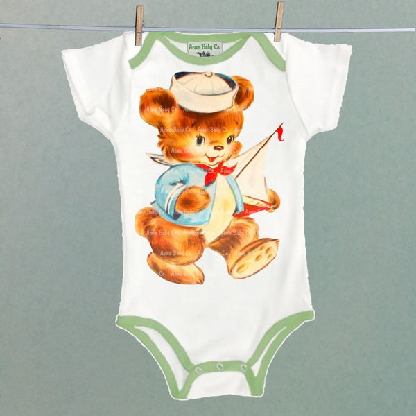 Sailor Bear Colored-Trim Baby Bodysuit