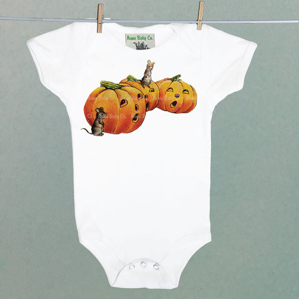 Mice and Pumpkins One Piece Baby Bodysuit