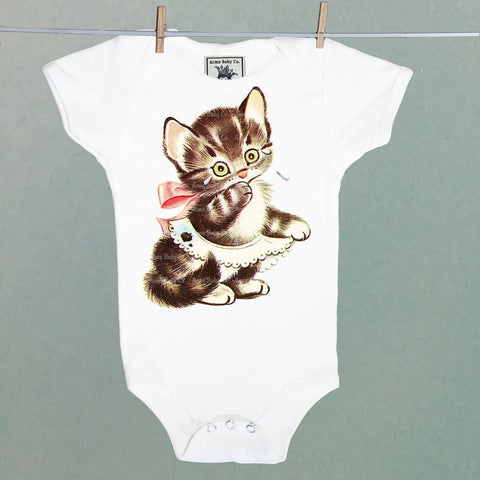 Crying Kitten One Piece Baby Bodysuit 6 months CLEARANCE