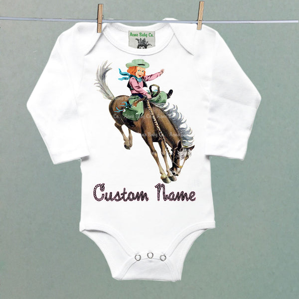 Custom Name One Piece Baby Bodysuit with Western Cowgirl Buckaroo