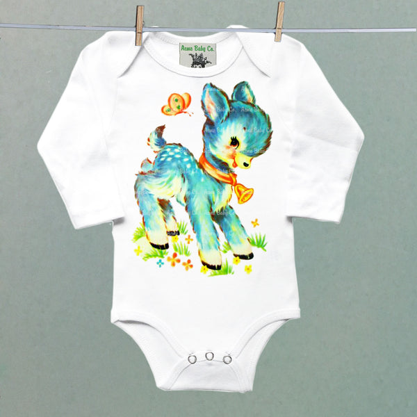 Retro Blue Deer One Piece Baby Bodysuit
