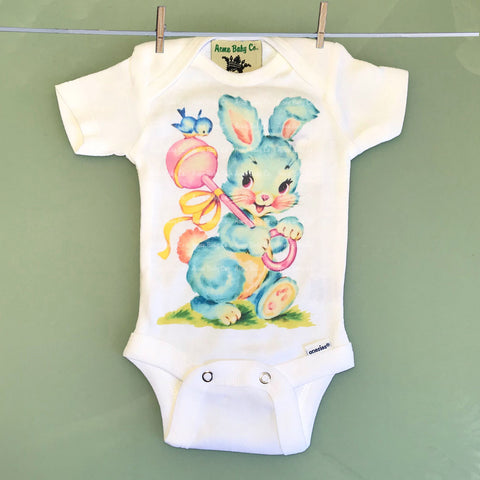 Blue Nursery Bunny One Piece Baby Bodysuit
