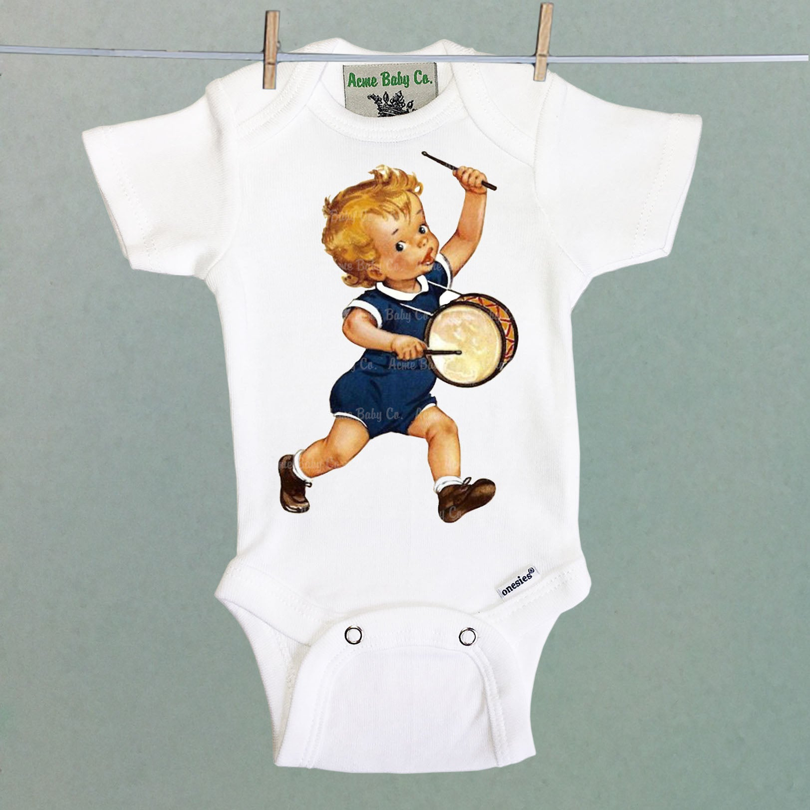 Drummer Boy One Piece Baby Bodysuit