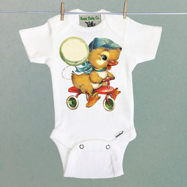 Tricycle Duckling One Piece Baby Bodysuit