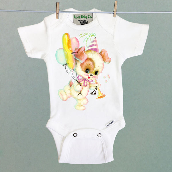 Party Puppy One Piece Baby Bodysuit