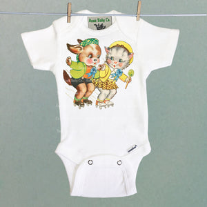 Roller Skating Friends Organic One Piece Baby Bodysuit
